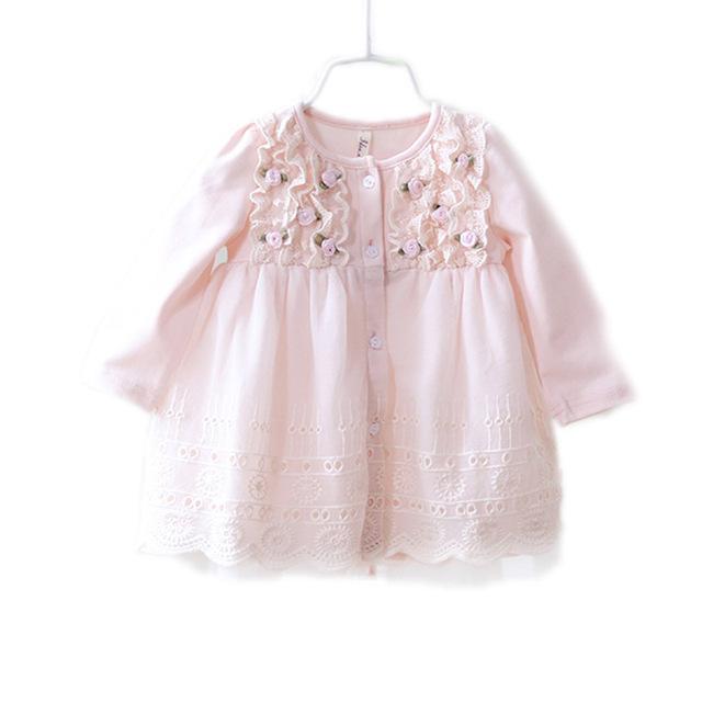 2016 Del Otoño Del Resorte Lindo vestido del bebé ropa de bebé niña vestido de flores de encaje de algodón princesa bebé vestido de cumpleaños 1 años vestido