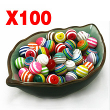 100Pcs Balls Spacer Beads Jewelry Making Necklace DIY Rainbow Colors M118