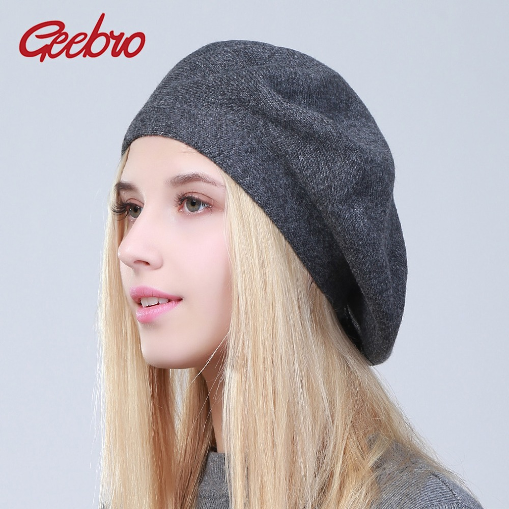 Geebro Women's French Beret Hat Spring Causal Plain Black Knit Wool Berets for Ladies Knitted Artist Beret Cap Hats For Woman