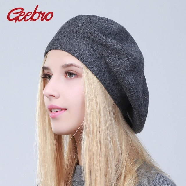 Geebro Women s French Beret Hat Spring Causal Plain Black Knit Wool Berets  for Ladies Knitted Artist Beret Cap Hats For Woman cddbec1438