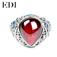 الاسترليني فضية 925 حلقة مع نازف خواتم العقيق مصوغة الأحمر الحجر الطبيعي المرأة الرجعية غرامة المجوهرات ل امرأة هدية