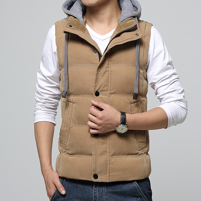 New Arrival Casual Men Vest Men Slim Fit 2017 Hot Sale Waistcoat Hat Detachable Hooded Winter Warm Windbreak Khaki Men Vest
