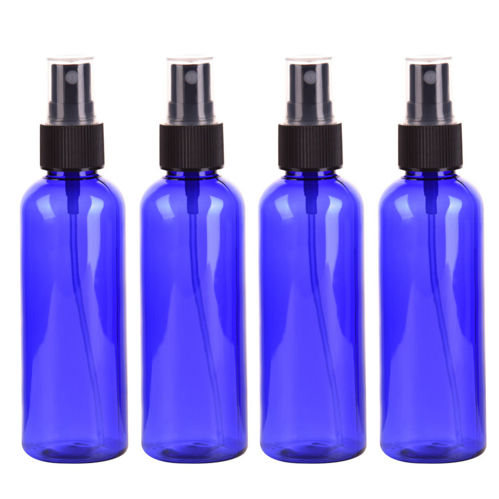 4PC/set 100ml Blue Empty Spray Bottle Plastic Sprayer Bottles Perfume Container Refillable Cosmetic Atomizer For Tarvel Gift 10ml spray glass empty bottles 50pcs cylindrical perfume bottle cosmetic packaging container