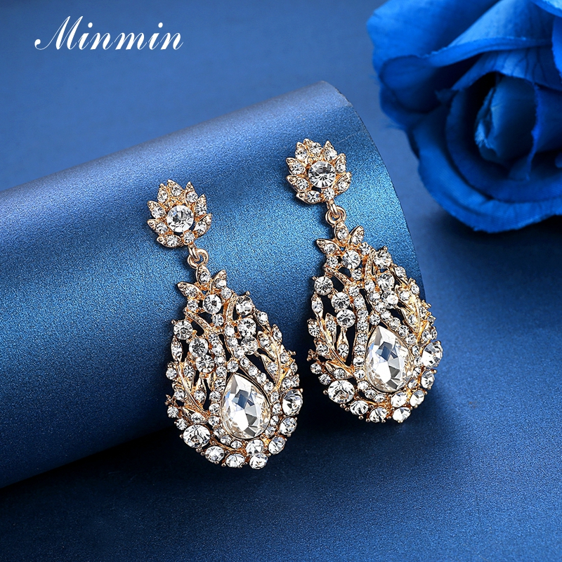 618890355cc7 Minmin Luxury Gold Color Large Wedding Drop Earrings for Women Vintage  Crystal Bridal Dangle Earrings 2019