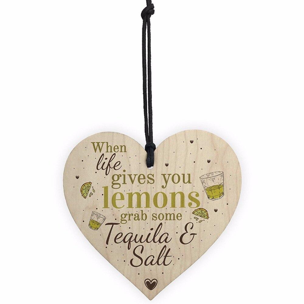 Actief Meijiafei Tequila & Zout Grappige Pub Bar Vriendschap Alcohol Gift Houten Plaque Tuin Keuken Muur Teken Goede Warmteconservering