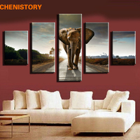 Unframed 5pc Animal Elephant Painting Canvas Modern Home Decoration Wall Art Picture For Living Room Large