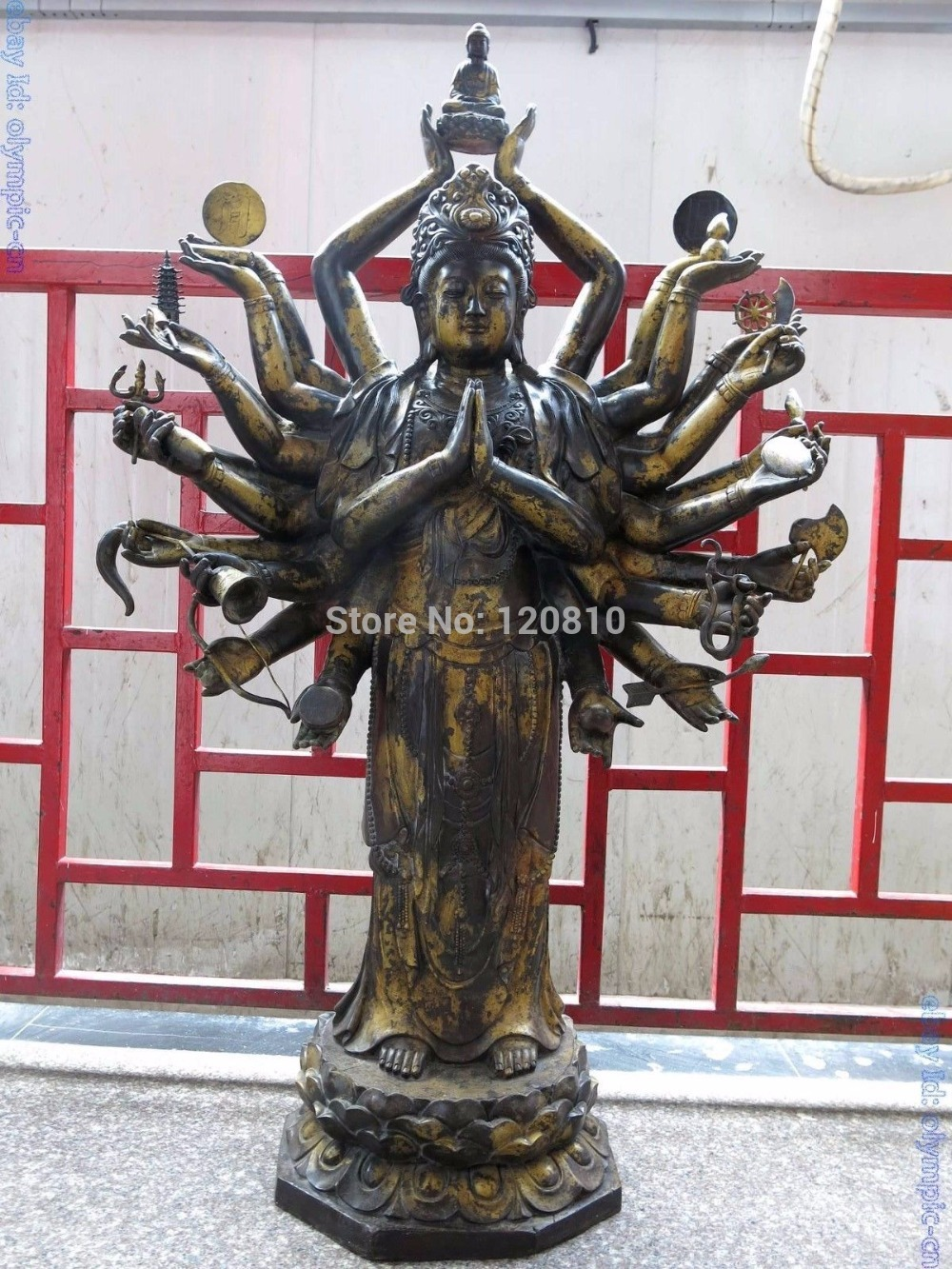 """A2157 """"Énorme Chine Tibet bronze sculpté 24 main kwan-yin bouddha Sculpture Statue"""