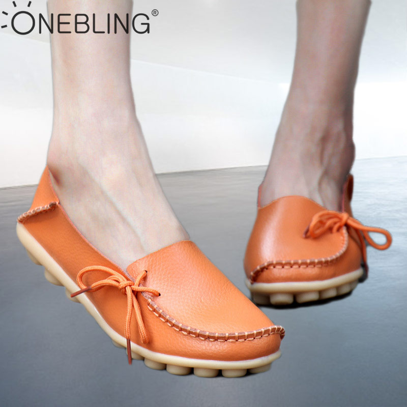 OneBling Plus Size 35-44 Genuine Leather Women Loafers 2019 Autumn Soft Slip On Casual Flat Shoes Massage Outdoor Peas Shoes