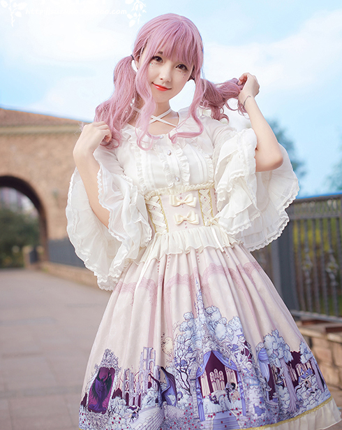 Sweet Lolita Princess Party Retro Chiffon Lace Victoria Shirt and High-waist Skirt Halloween Christmas Dress costume for women