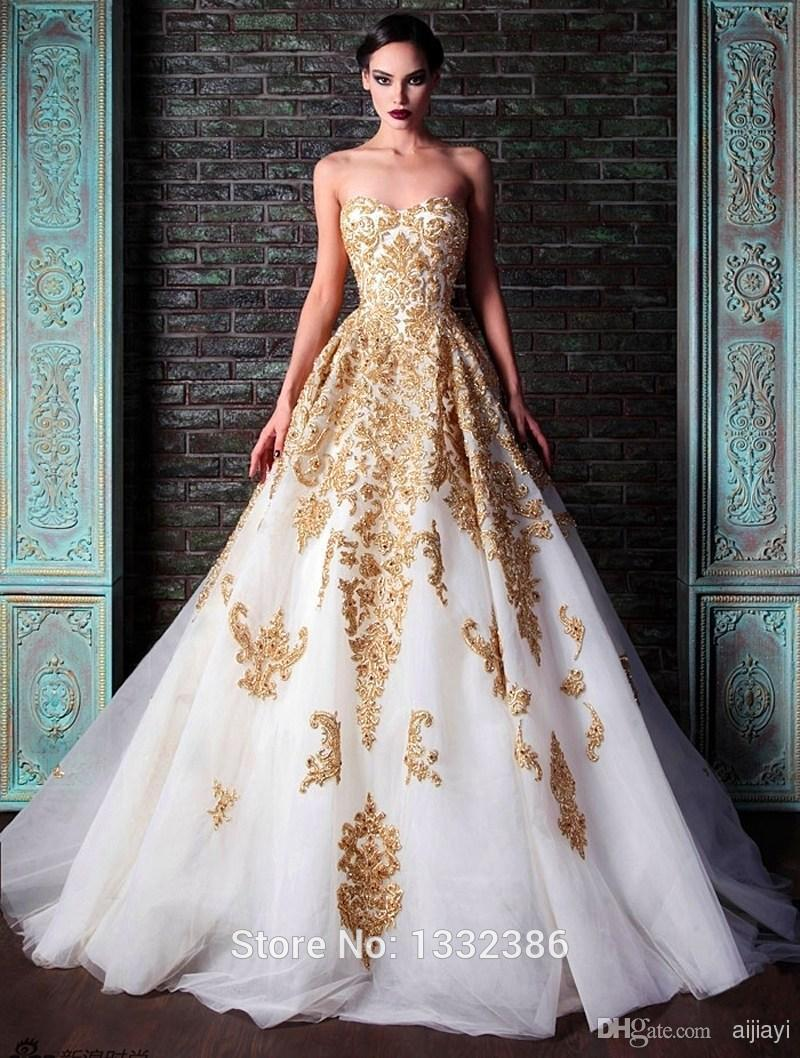 Hotcorset white and gold wedding dress a line floor length appliques hotcorset white and gold wedding dress a line floor length appliques bridal gown 2015 new in wedding dresses from weddings events on aliexpress junglespirit Gallery