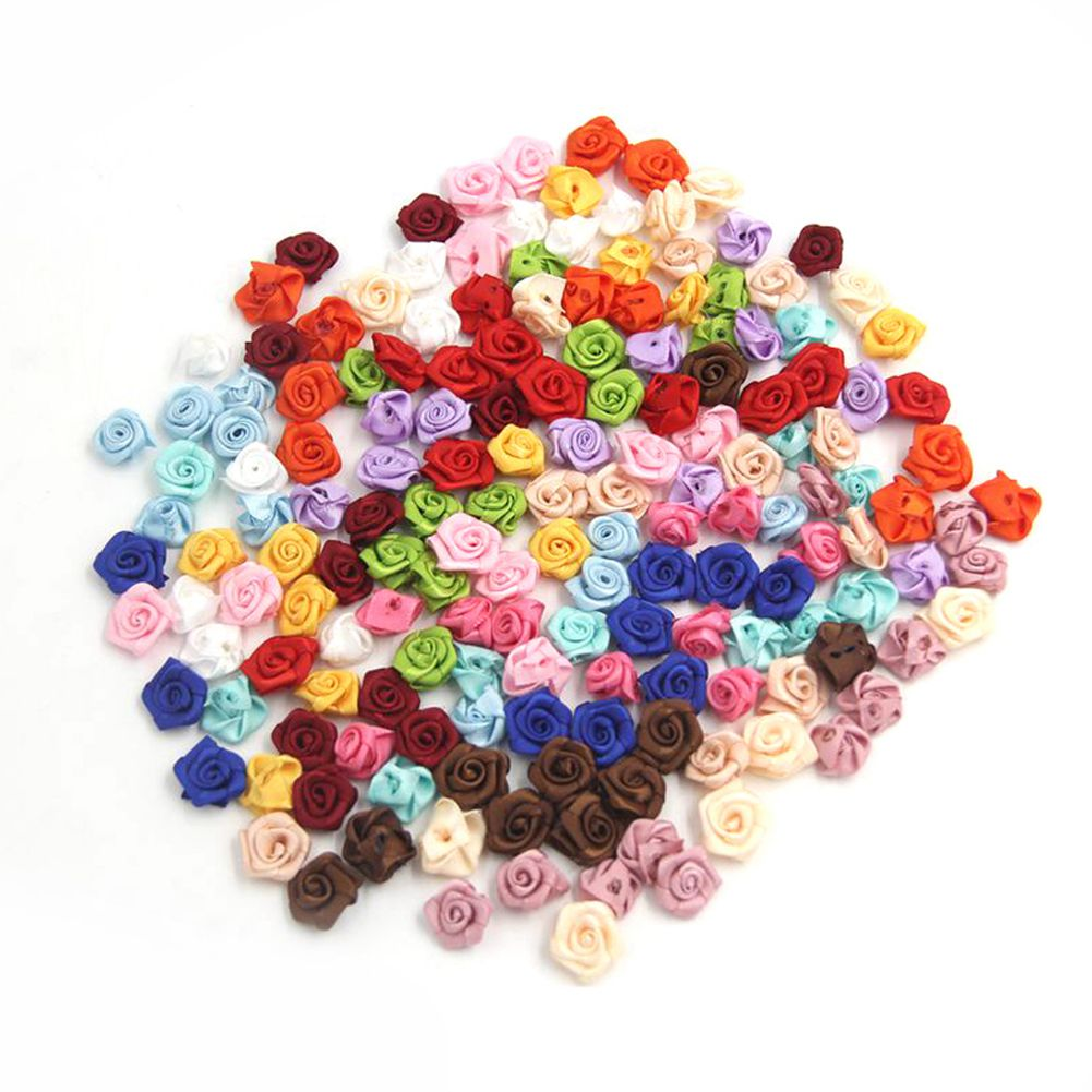 100 шт./лот мини ручной ленты атласные розы розетки Ткани Цветочные аппликации для Свадебные украшения Ремесло швейная фурнитура