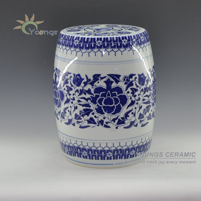 China Fancy Blue And White Ceramic Garden Stools For Home Decor H16u0027u0027(China