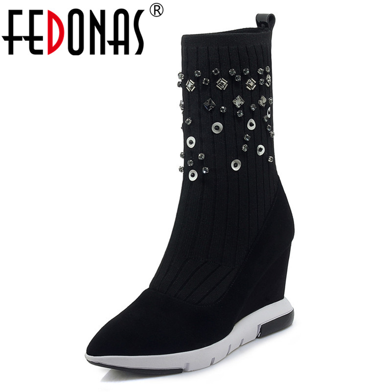 FEDONAS 2019 New Fashion Women Strertch High Boots Autumn Winter Wedges High Heeled Mid-calf Boots Warm Shoes Woman Socks Boots ombre circle calf length socks