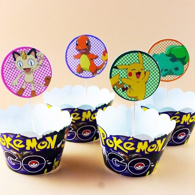 Neue 24 Stucke Cartoon Pokemon Pikachu Kuchen Verpackungen Toppers