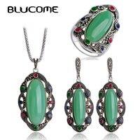 Blucome גדול ירוק ארוך סטי תכשיטי טבעת עגילי שרשרת תליון מותג תורכי Pendients מקסימום Brincos Vintage נשים טבעת Colar