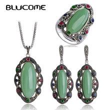 Blucome большой зеленый кулон бренда турецкий ожерелье серьги кольцо ювелирные комплекты pendients Max Brincos винтажные женские Кольцо Colar