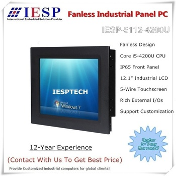 12.1 inch Fanless Industrial Panel PC, Core i5-4200U CPU, 4GB DDR3 RAM, 500GB HDD, industrial HMI, Touch panel pc