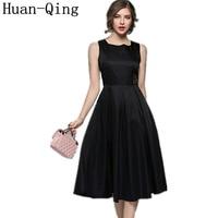 Runway Women Vintage Black Tunic Slim Ball Gown Long Vest Dress Spring Female Sexy Sleeveless Elegant Party Tank Dresses Vestido