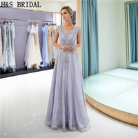 H&S BRIDAL O neck Purple evening dresses long Lace Evening Gown with Straps Beading Floor Length Party Dress robe de soiree