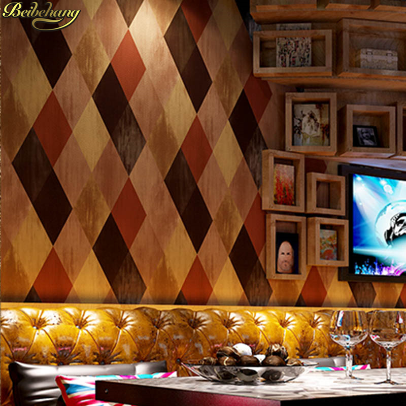 beibehang KTV box hotel clothing store wallpaper 3D simulation rhombus lattice imitation tile TV background wall paper недорого