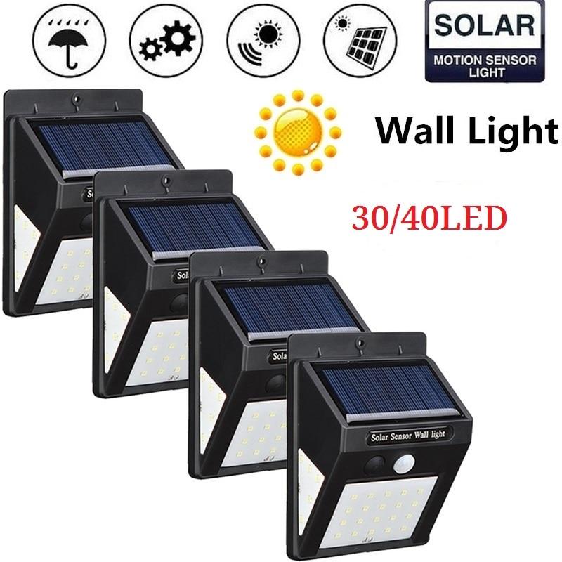 4 Pcs 40 LED Solar Powered Wall Lamp PIR Motion Sensor Waterproof Light Bulb Garden Light Outdoor Path Security 3 Sided Luminous