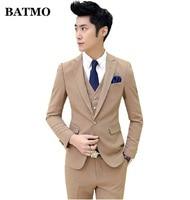 BATMO 2019 new arrival high quality Korea style slim khaki suits men,men's wedding dress plus size M XXL TZ48