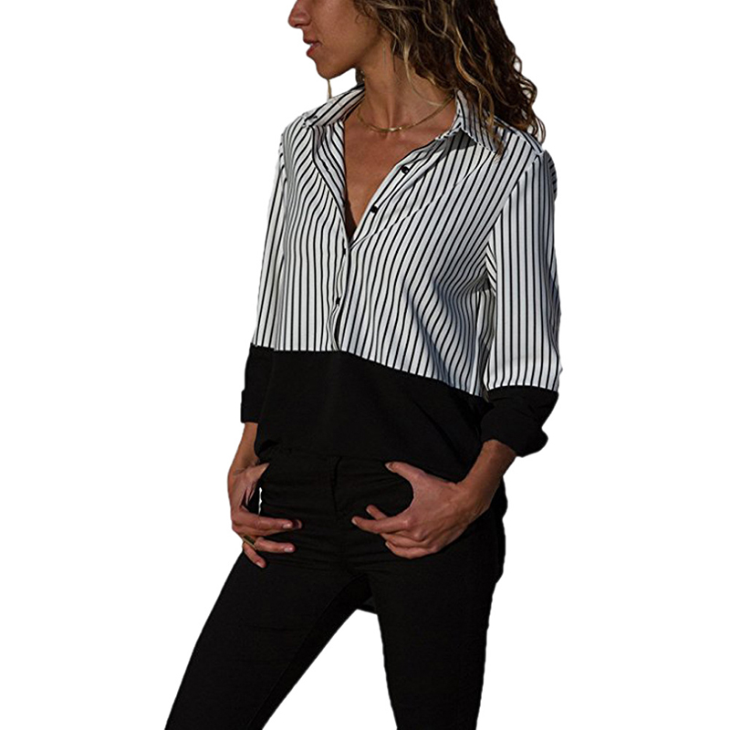 stripe patchwork tops shirt women 2018 turn down collar long sleeves button shirt casual women clothing s-5xl plus size WS9510T