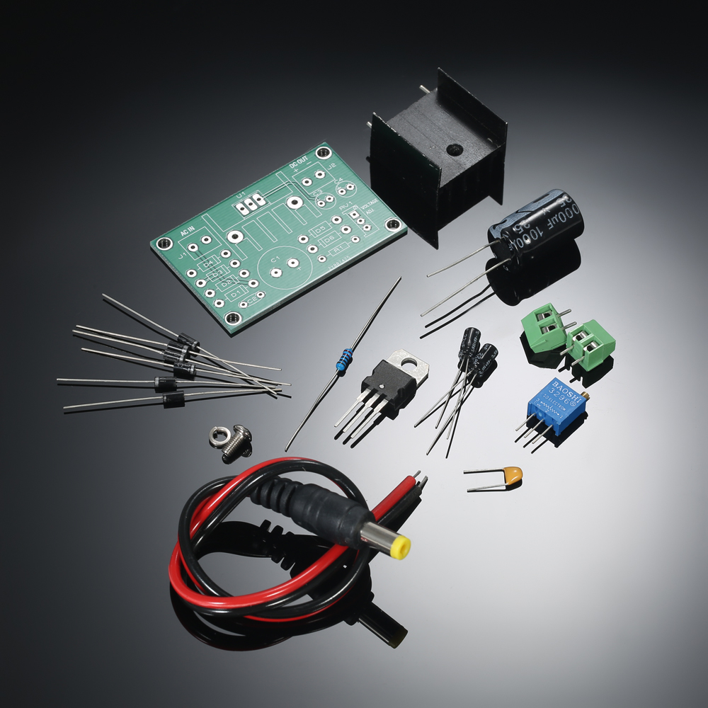 New LM317 1.25V-22V Continuously Adjustable Regulated Voltage Power Supply Step-down Module Input AC18V DIY Kit