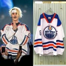 V cổ Justin Bieber OILERS Cổ Điển Số 6 Thêu Người Đàn Ông phụ nữ Cô Gái Thời Trang màu xanh và trắng sọc áo tay áo