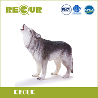 Recur Toys Gray wolf wild Animal Model PVC Toy Hand Painted Action Figure Soft Toys For Children and collectors