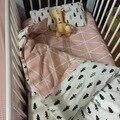 Promoción! 3 unids lecho del bebé 100% algodón set para recién nacido lino cuna cuna niño de la muchacha, incluyen ( funda nórdica / hojas / almohadas )