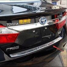 Auto styling Für 2012 2013 2014 2015 Toyota camry Edelstahl stahl stamm schutz hinterer stoßdämpfer-fuss-platte Heckbügel Sill
