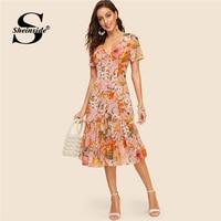 Sheinside V Neck Button Front Flounce Hem Floral Dress For Women Vintage Summer Shirt Dresses 2019 Multicolor Boho Chic Dress