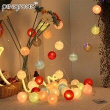 10 м 80 светодиодный s хлопковый шар струнный светильник s наружная гирлянда бусины на батарейках светодиодный Сказочный светильник s Рождественский светодиодный новогодний светильник PD061