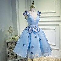 Сладкий голубой v образным вырезом Бабочка Кружева Паффи Тюль Vestidos De Коктейль Плиссированные бальное платье Мини коктейльные платья малень