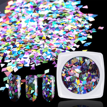 Hot Mirro Glitter Nail Art Laser Rhombus Sequins Diamond 3D Thin Tips Sparkling Colorful Small/Big Triangle Glass Paillette