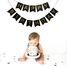 Happy Birthday Bunting Banner Glitter Garland Flag Cartoon Letter Girl Boy Baby Shower Decoration