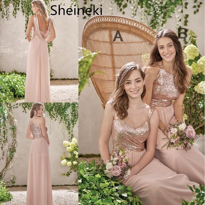 Rose Gold Bridesmaid Dresses A Line Spaghetti Backless Sequins Chiffon Long Beach Wedding Gust Dress Vestido De Festa Longo