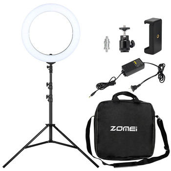 Zomei Camera Photo Video Lighting Kit 18 LED Ring Light with Light Stand for Smartphone Makeup Portrait Youtube Video Shooting photo shoot