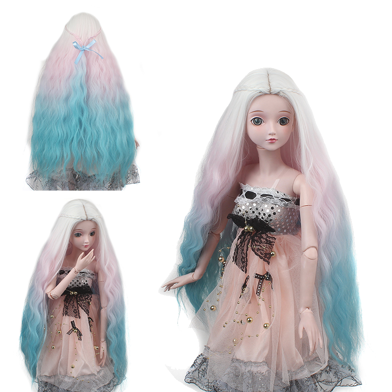 High Quality Bjd Doll Hair With Wigs 1/3 1/4 1/6 Heat Resistant Wire White Pink Blue Mixed Color Long Wigs To Have Both The Quality Of Tenacity And Hardness