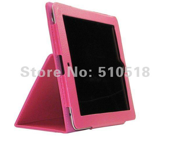 New Flip Leather Case Cover With Smart Stand lined for iPad 3rd Rose Pink, Free shipping!