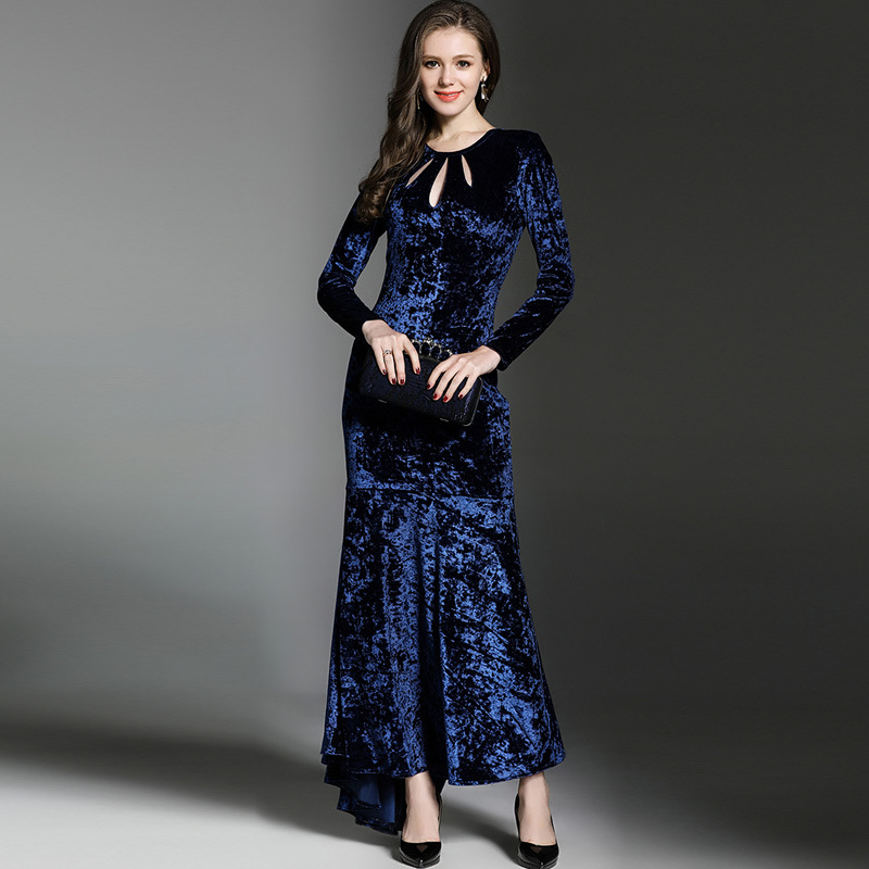 Velvet Long Sleeve Tunic Package Hip Trumpet Maxi Dress Women Elegant Vintage Sexy Office Party Fashion Dress Spring Clothing