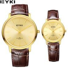 EYKI reloj de Cuarzo de Oro de Negocios para Parejas de Lujo Banda de Cuero de Las Señoras Relojes de Primeras Marcas Impermeable Relogio Feminino Reloj