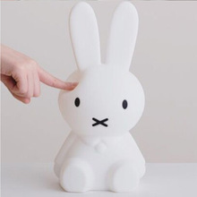 Rabbit LED Night Light Children's Room Decoration Table Lamp USB Charging Silicone Touch Sensing Bedroom Living Room Gift Lamp