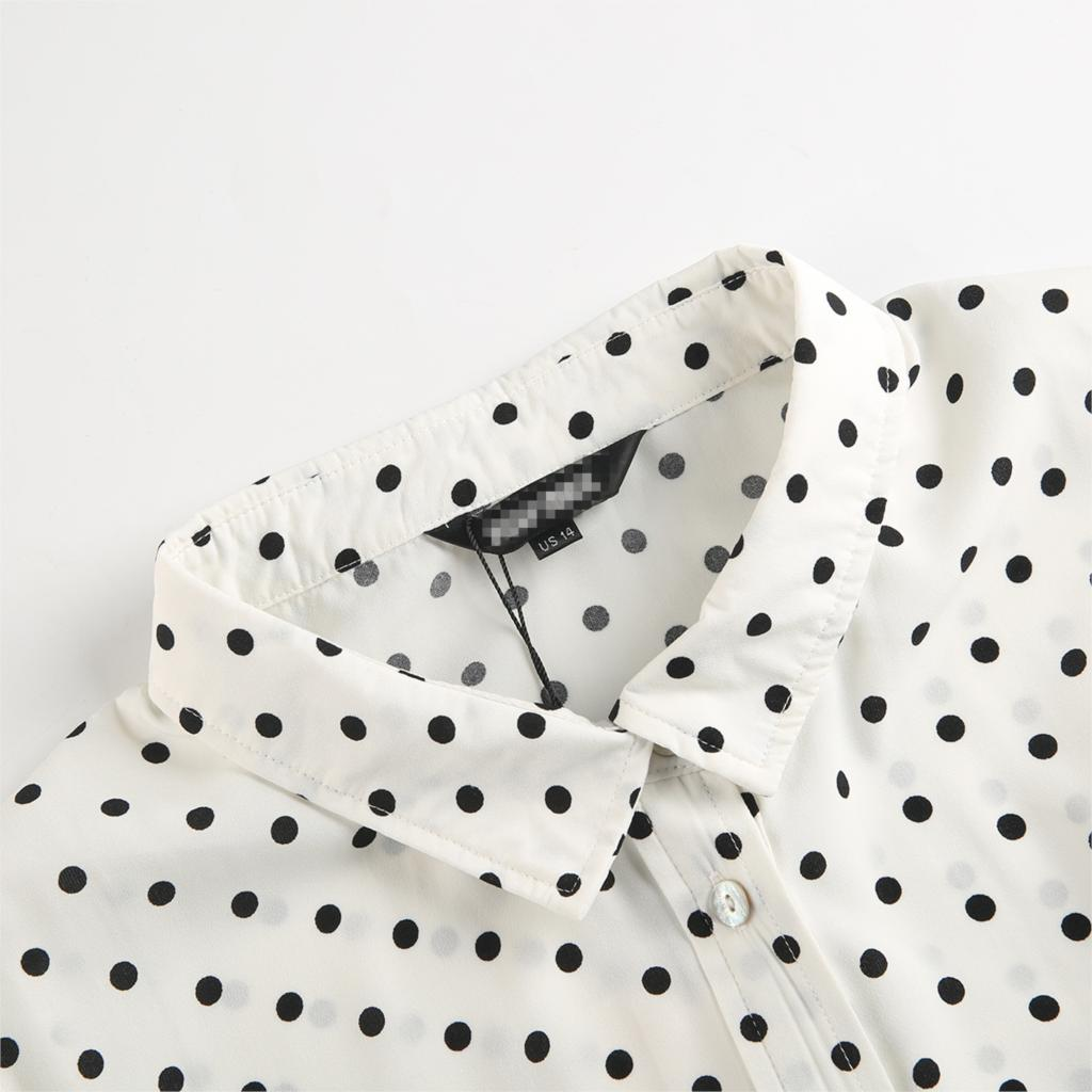 MCO New Basic Polka Dot Print Plus Size Women Blouse Casual Oversized Top Big Women Clothing Simple Spot Loose Shirt 5xl 6xl 7xl 3