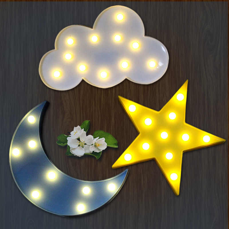1pcs Lovely Horse Cloud Light 3D Star Moon Night Light LED Cute Marquee Sign For Baby Children Bedroom Decor Kids Gift Toy