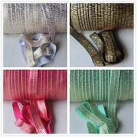 3 kolory złota folia zebry drukowane FOE elastyczna fold over elastic