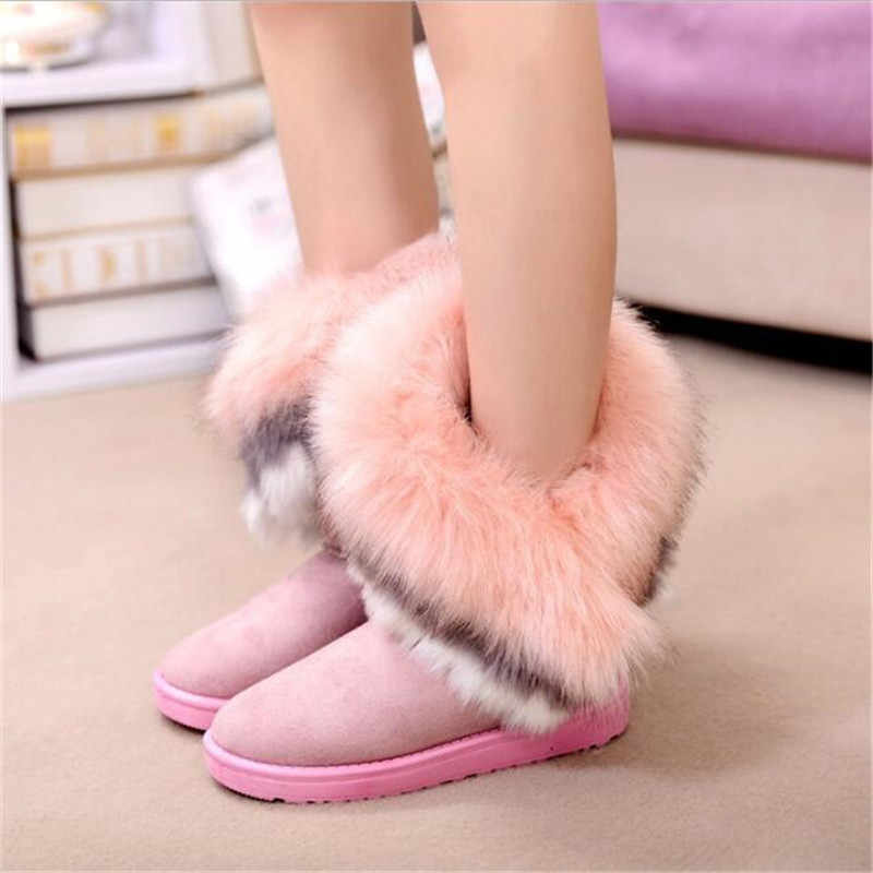 Women Flats Ankle Snow Boots Fur Boots Winter Warm Snow Shoes woman Round-toe Female Flock Leather Women Shoes XAD223