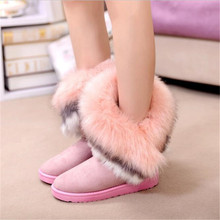 Women Flats Ankle Snow Boots Fur Boots Winter Warm Snow Shoe