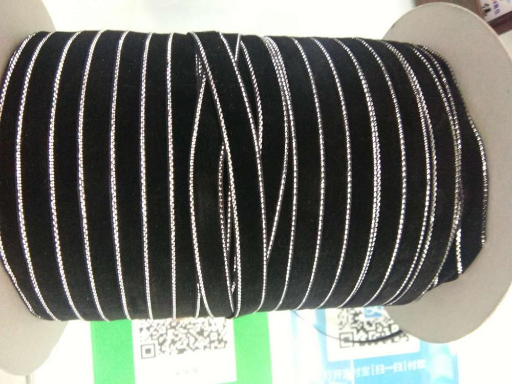 "DIY 5 ярдов 3/"" 10 мм мягкая удобная бархатная лента много цветов на выбор - Цвет: black"